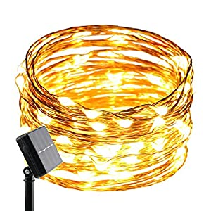 ErChen Solar Powered Copper Wire Led String Lights, 33FT 100 LEDs Waterproof 8 Modes Decorative Fairy Lights for Outdoor…