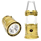 LED Solar Outdoor Camping Lantern Night Lamp Flashlights Camping Equipment - Great for Emergency, Tent Light, Backpacking (Rechargeable/Portable,Gold )