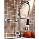 Votamuta Pull Down Kitchen Sink Faucet Swivel Spout Mixer Chrome Finish