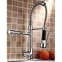 Votamuta Pull Down Kitchen Sink Faucet Swivel Spout Mixer Chrome Finish