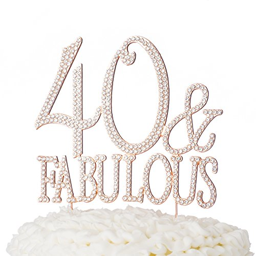 Ella Celebration 40 & Fabulous Cake Topper for 40th Birthday Party Supplies Rose Gold Decoration (40 & Fabulous Rose Gold)