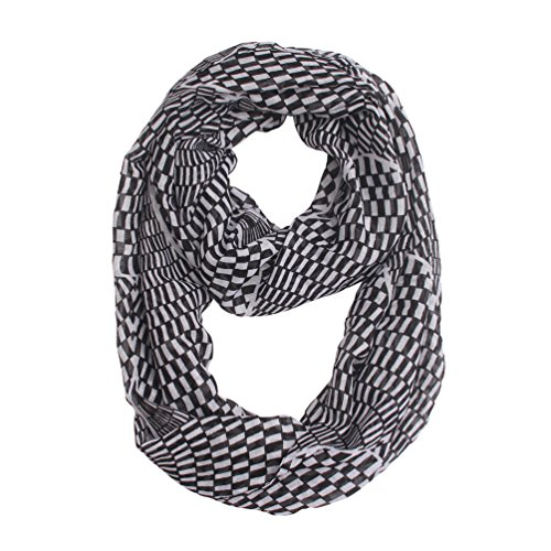 White Scarf Check (Women Lightweight Infinity Scarf Loop - Black White Soft Light Thin For Spring Summer 2018 New Design Fashion Scarfs Idea Gift)
