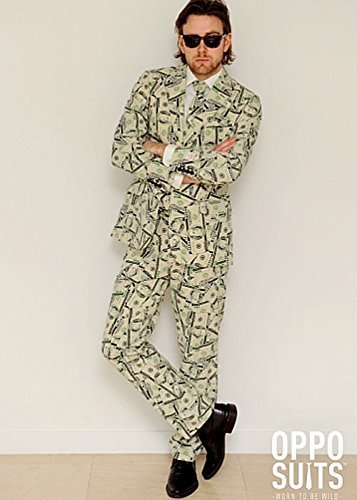 Adult Mens Money Pattern Oppo Suit Costume Medium/Large (EU52 UK42) by Struts Fancy Dress - Struts Costumes