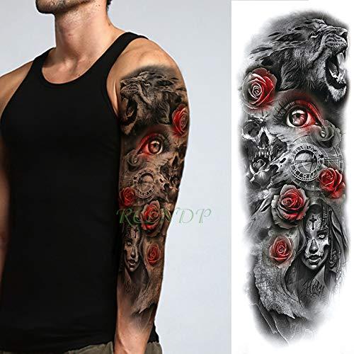 ljmljm 3pcs Tatuaje Impermeable Etiqueta Rey León Corona Rose Flor ...
