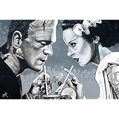 Amorous Libation by Mike Bell Bride of Frankenstein Framed Art Print