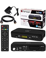 HB DIGITAL Set: ✨SATELLITEN SAT Hoge kwaliteit DVB-S/S2 ontvanger met PVR functie Receptive + HDMI kabel verguld (HD Ready HDTV HDMI SCART USB coaxiale uitgang Opticum AX150)