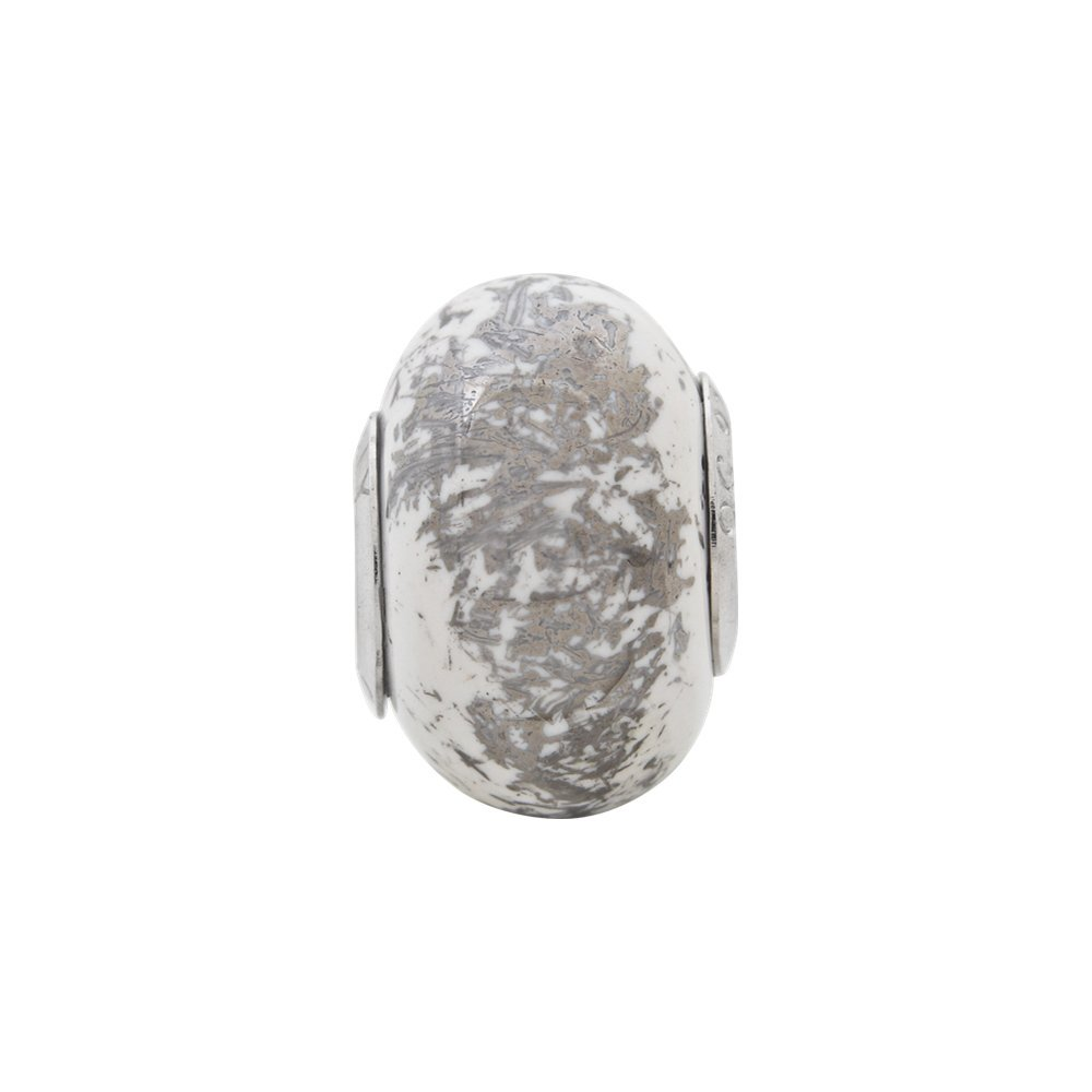 Sterling Silver Jewelry Ceramic Beads Solid 9.09 mm 12.73 mm Reflections Platinum Foil Ceramic Bead