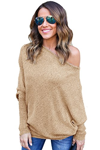 OUR WINGS Women Sexy Khaki Off Shoulder Bat Long Sleeves Loose Fit Sweater L