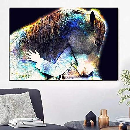 Pintura al óleo Cuadro moderno en lienzo, carteles e impresiones de animales, cuadros abstractos de pared de caballo para sala de estar, Cuadros, decoración escandinava para el hogar 60x90cm
