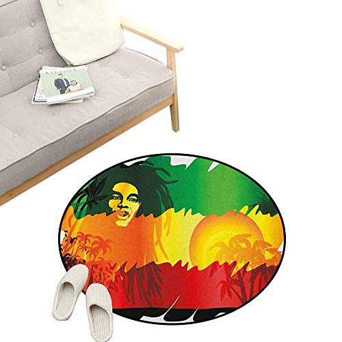 Rasta Round Rug Living Room ,Iconic Reggae Music Singer Abstract Design with Sun and Palm Trees, Bedrooms Laundry Room Decor 47