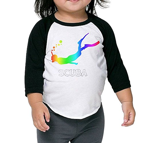 Love Scuba Diving Diver Kids 100% Cotton 3/4 Sleeve Athletic Baseball Raglan T-Shirt 4 Toddler