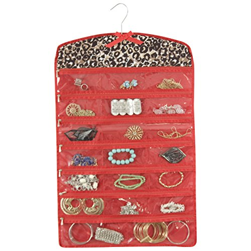 40 Compartment Hanging Closet Jewelry / Accessory Organizer (Red)