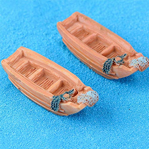 (Jaylyn JSC - 2 Pcs Mini Resin Ship Boat Miniature Craft Decoration Micro Landscape Moss Terrarium Bonsai Figurines Dollhouse)