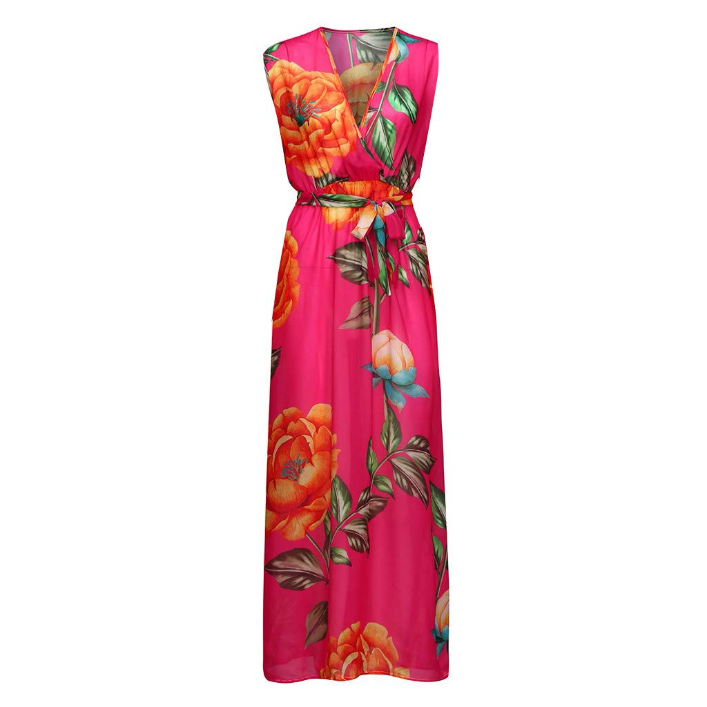 Womens Stylish Chiffon V-Neck Printed Floral Maxi Dress with Waisted Belt Plus Plus Size Dresses for Women Casual Summer