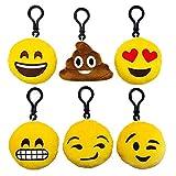 Cute Smiley Emoticon Amusing Key Chain Holder Cotton Plush Emoji Keychain for Women Men Car Bag Pendant