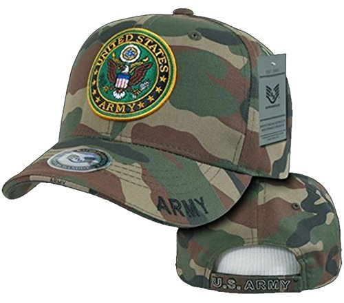 Army Veteran Hat Camouflage Baseball Cap Woodland Camo US Military Seal ()