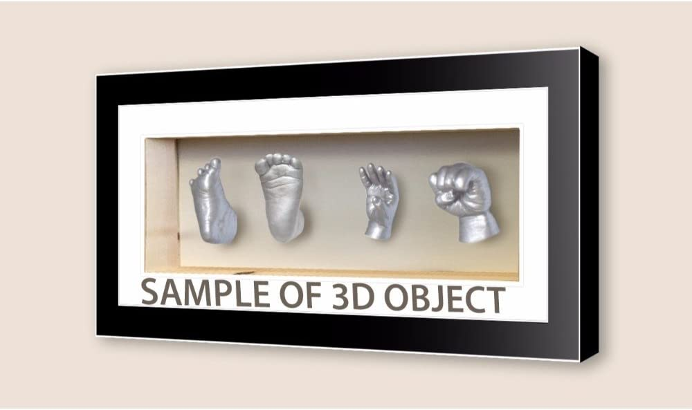 Mahogany Frame White Mount Kwik Picture Framing Ltd Rectangle 3D Cube panoramic box frames for baby cast