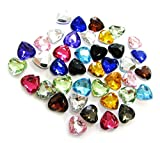Linpeng 10mm Assorted Colors Faceted Heart Acrylic Gems- No.T - Approx. 40 Pcs/Pack