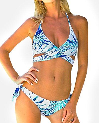 OMKAGI Women's Sexy Bikini Swimsuit V Neck Leaves Print Halter Swimwear Set(S, Green Leaf)