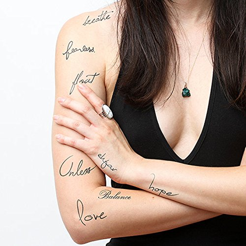 Temporary tattoo words quotes pack set of 18 tattify for Where can i get a temporary tattoo