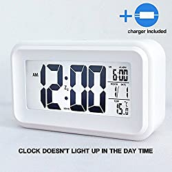 HITO™ 6 Alarm Clock w/ Date and Temperature Display, Repeating Snooze, Light-activated Sensor Light and Touch-activated Nightlight- Batteries/ USB powered(2Gen White+charger(UL))
