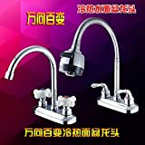 BFDGN Simple Durable and Sturdy Copper Brushed Double HOLE WASH-BASIN MIXER sink mixer hot and cold shower , double basin mixer 5 ring roller for bathroom, kitchen, hotel and home