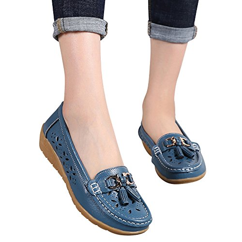 fers Casual Soft Lightweight Flat Shoes- Women Outdoor Bottom Leisure Peas Boat Boot ()
