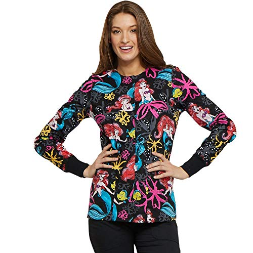 Cherokee Tooniforms by Women's Snap Front Little Mermaid Print Scrub Jacket Small Print