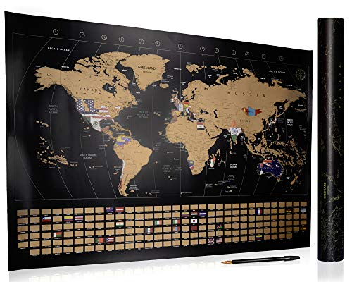 Scratch Off World Map- Detailed Travel Map of The World Poster- Includes Scratch Off Pen- Perfect Gift for Travelers- 32 x 23- by Made Simple