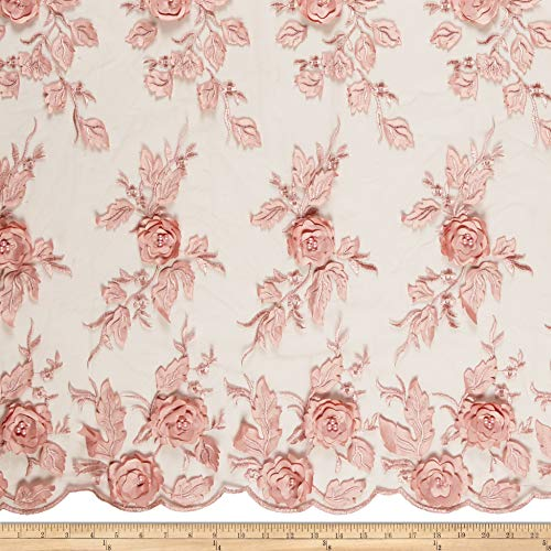 Ben Textiles 3D Flower and Petals Micro Mesh Fabric, River Rose, Fabric By The Yard