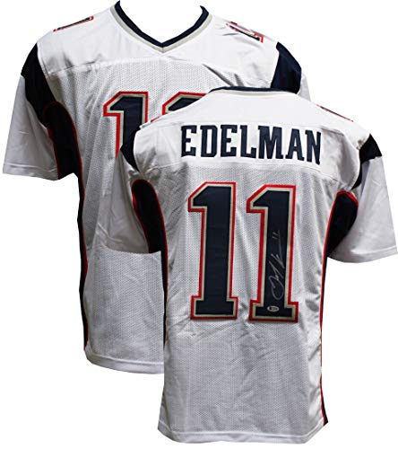 9c2f9e3ab99 Authentic Julian Edelman Autographed Signed Custom White Jersey (Beckett  COA) - New England Patriots WR Super Bowl MVP