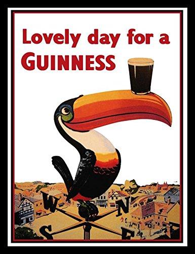 - Buyartforless Framed Guinness Beer Lovely Day Toucan On Weather-Vane Advertising Art Print Poster, 36
