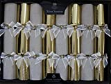 Tom Smith - Luxury Gold Christmas Crackers - Pack of 8 - Each Containing a Distinctive Surprise Gift