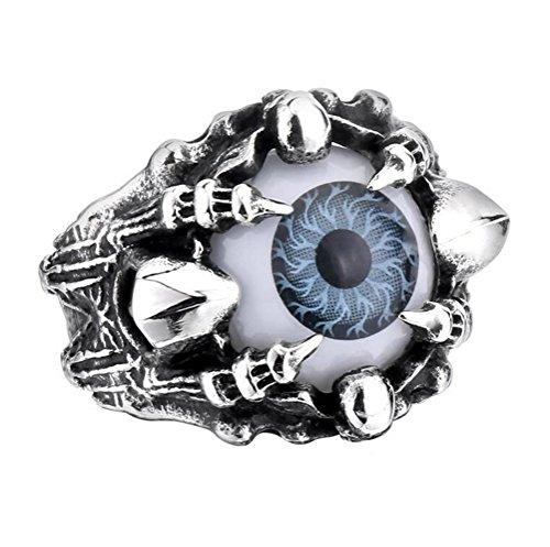 PAURO Men's Stainless Steel Skull Dragon Claw Evil Devil Eye Ring Gray Eyeball Size 9