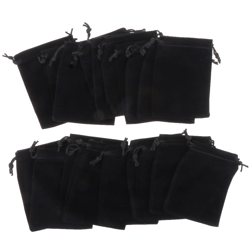 MagiDeal 20 Pcs Velvet Jewelry Accessories Pouch Gift Bag 5 Color S/M/L - Black S non-brand