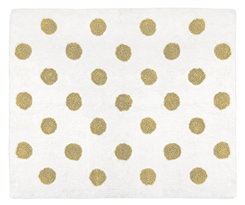 Sweet Jojo Designs Gold and White Polka Dot Accent Floor Rug or Bath Mat for Black Watercolor Floral Collection ()