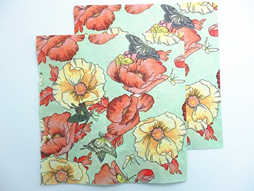 20-pcs-paper-napkins-decoupage-floral-red-yellow-flowers-art-crafts-wedding-decal-2-ply-13-x-13