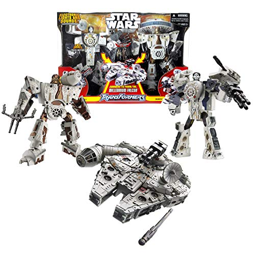 Star Wars Year 2006 Transformer Series 2 Pack 8 Inch Tall Figure Set - Chewbacca and HAN Solo to Millennium Falcon with Lights and Sounds, Missile Launchers Plus 2 Pilot Minifigures