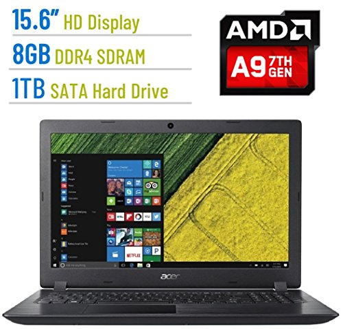 Newest Premium Acer Aspire E 15.6-inch HD (1366×768) Laptop PC, AMD A9-9410 2.9GHz Processor, 8GB DDR4 SDRAM, 1TB HDD, AMD Radeon R5 Graphics, 802.11ac, HDMI, Bluetooth, Webcam, DVD±RW, Windows 10