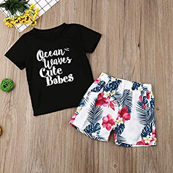 Infant Baby Boy Letter Print Short Sleeve T-Shirt Tops Floral Shorts 2Pc Outfit Summer Clothes Set Black//Floral,2-3Years