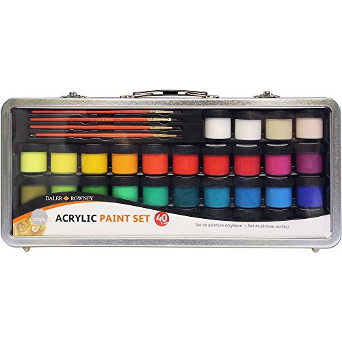 Daler Rowney Simply Acrylic Paint 40 Piece Set in Metal Case