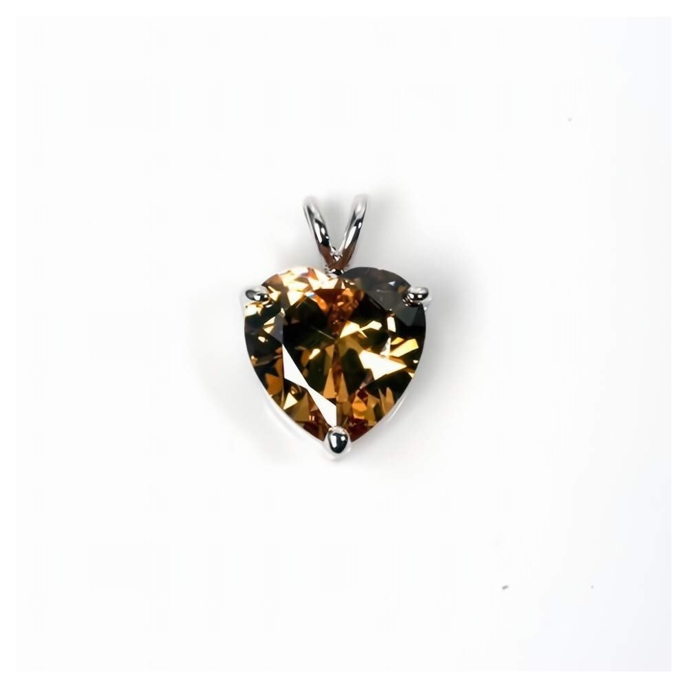 Glitzs Jewels 925 Sterling Silver Cubic Zirconia CZ Necklace Pendant Heart Tan//Brown