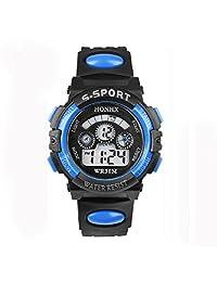 Willtoo(TM) Children Unisex Waterproof Digital LED Watches Sports Wrist Watch with Alarm Date (blue)