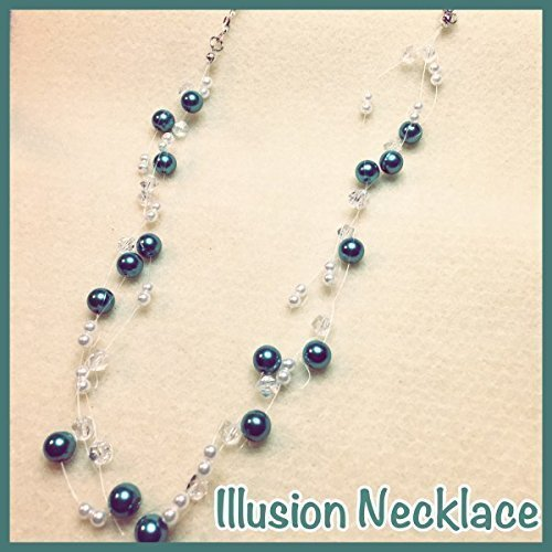 Floating Glass Pearl & Crystal Multi-Strand Illusion Necklace, - Ring Glass Floating