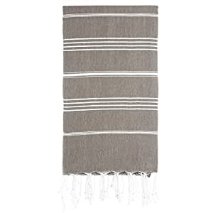 "Cacala 100% Cotton Pestemal Turkish Bath Towel, 37 x 70"", Light Brown"
