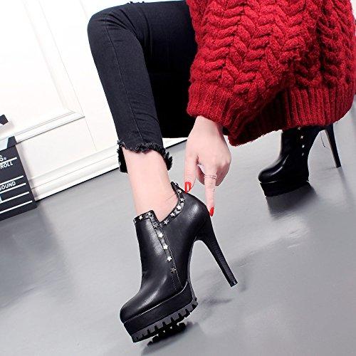 Tobillo Corto vogue En Sexy Tacón Plataforma Khskx E Otoño Black Con Invierno Botas Y Fino Remache Zapatos Mujer Impermeable De 8ddSq4Zw