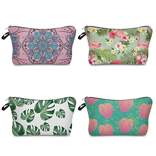 Roomy Cosmetic Bag,4 piece Set Loomiloo Portable Waterproof Toiletry Pouch Makeup Bags for Travel (Turtle Leaf)