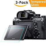 : Screen Protector Compatible Sony Alpha a7RIII A7R3 A9 A7II A7RII A7SII A77II A99II RX100 RX100V RX1 RX1R RX10 RX10II Camera, QIBOX Tempered Glass Screen Guard Full Coverage Edge to Edge[3 Pack]