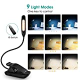 7 LED Clip Reading Light, Atmoko Reading Lamp with 9-level Brightness(Warm/Cool White), USB Rechargeable, Eye Care Brightness Book Light with Travel Bag for Kindle, Book, Computer