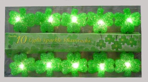 St. Patricks Day 10 Light Sparkling Shamrocks]()